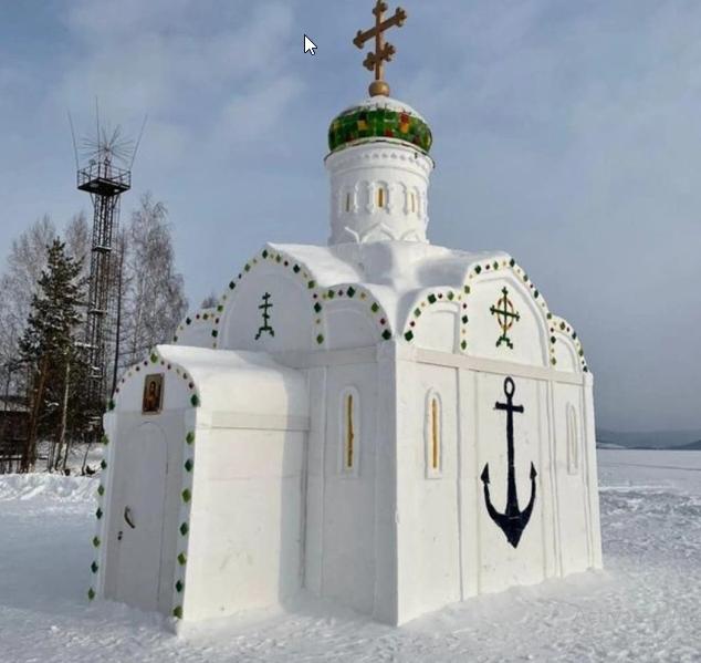 كنيسة من الثلج والجليد روسيا
